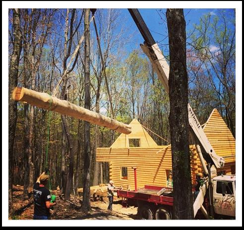log home in woods, logs in air lifting to frame of new log home